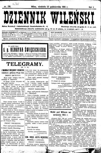 Dziennik Wileński - 1916-10-22