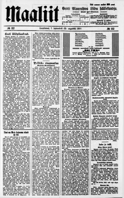 Maaliit - 1918-09-07