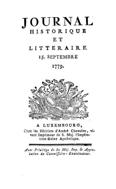 Journal historique et littéraire - 1779-09-15