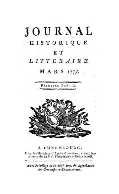 Journal historique et littéraire - 1775-03-01