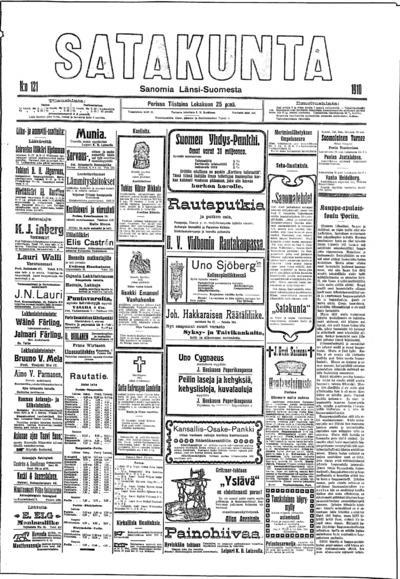 Satakunta, nr: 121 Sanomia Länsi-Suomesta - 1910-10-25