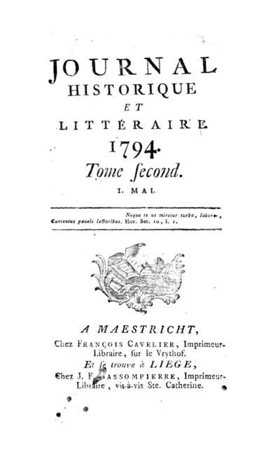 Journal historique et littéraire - 1794-05-01
