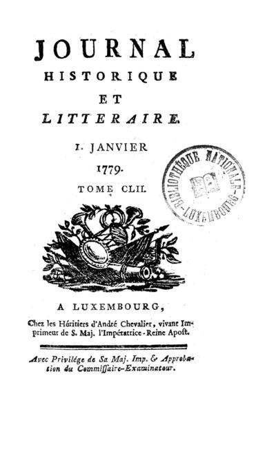Journal historique et littéraire - 1779-01-01
