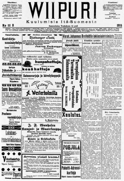 Wiipuri, nr: 111A Kuulumisia Itä-Suomesta - 1905-05-14