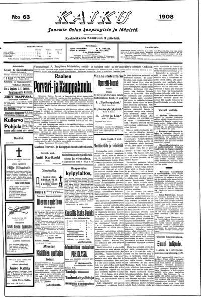 Kaiku, nr: 63 Sanomia Oulun kaupungista ja läänistä - 1908-06-03