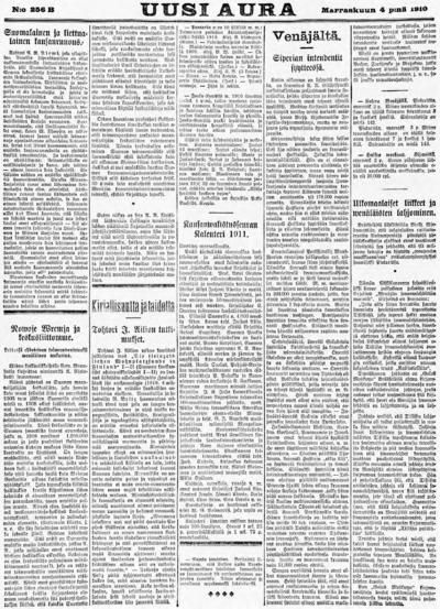 Uusi Aura, nr: 256B - 1910-11-04