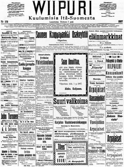 Wiipuri, nr: 176 Kuulumisia Itä-Suomesta - 1907-08-03