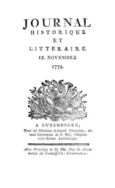 Journal historique et littéraire - 1779-11-01