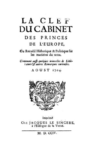 La clef du cabinet des princes de l'Europe - 1704-08-01