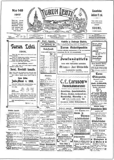 Turun Lehti, nr: 148 - 1907-12-21