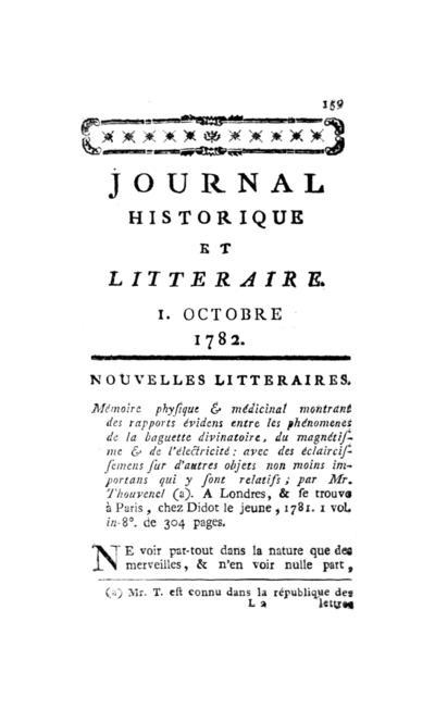 Journal historique et littéraire - 1782-10-01