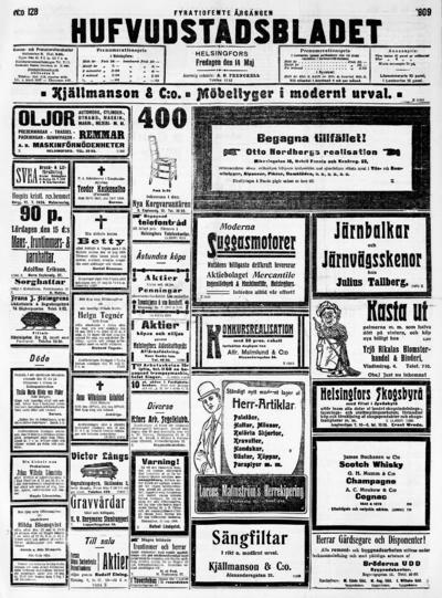 Hufvudstadsbladet, nr: 128 - 1909-05-14