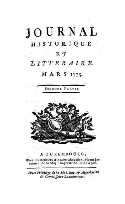 Journal historique et littéraire - 1775-03-15
