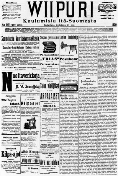 Wiipuri, nr: 298 Kuulumisia Itä-Suomesta - 1909-12-24