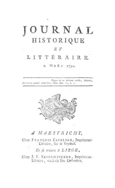 Journal historique et littéraire - 1794-03-01