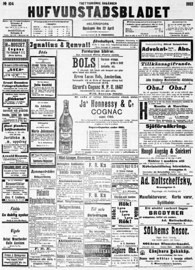 Hufvudstadsbladet, nr: 104 - 1903-04-22