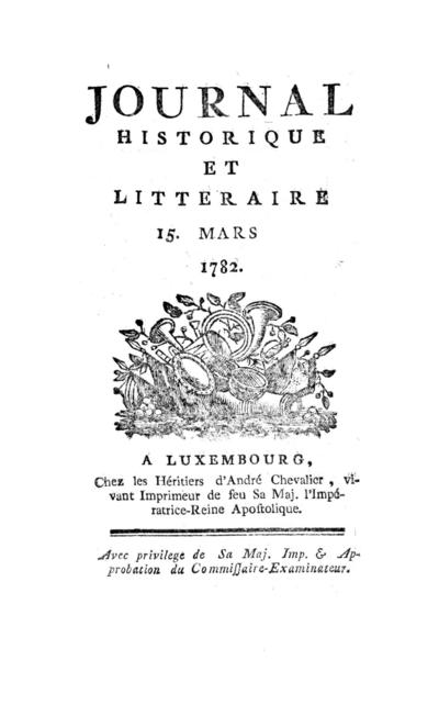 Journal historique et littéraire - 1782-03-15