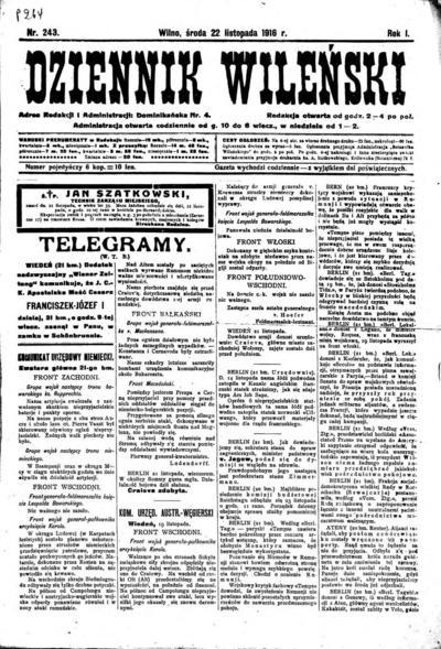 Dziennik Wileński - 1916-11-22