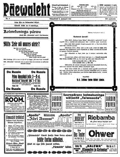 Päevaleht - 1921-01-06