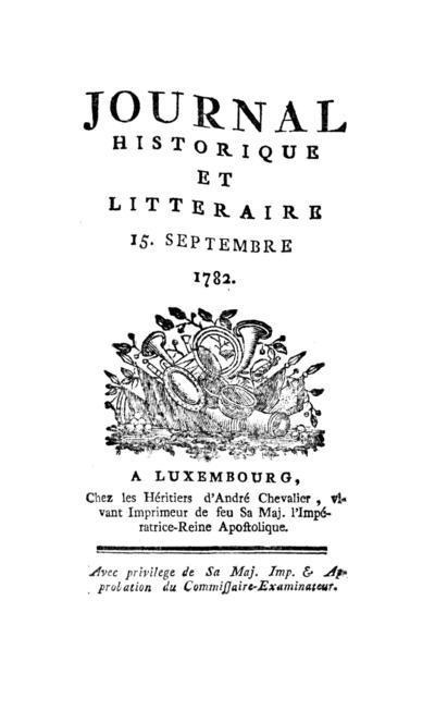 Journal historique et littéraire - 1782-09-15