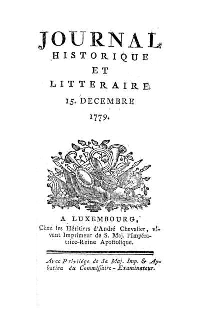 Journal historique et littéraire - 1779-12-01