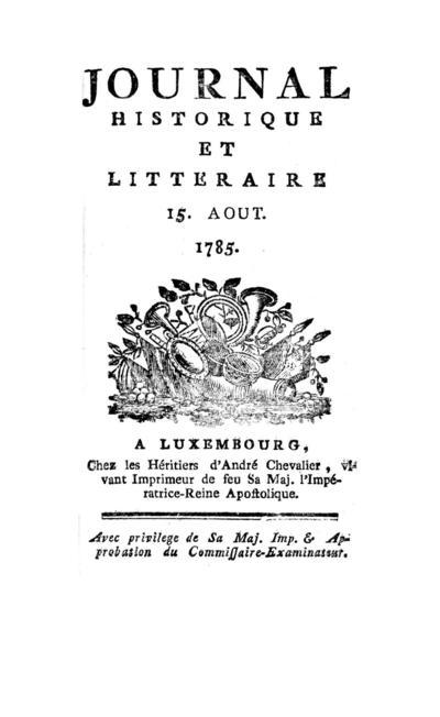 Journal historique et littéraire - 1785-08-15