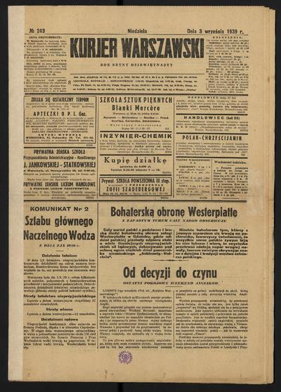 Kurjer Warszawski - 1939-09-03