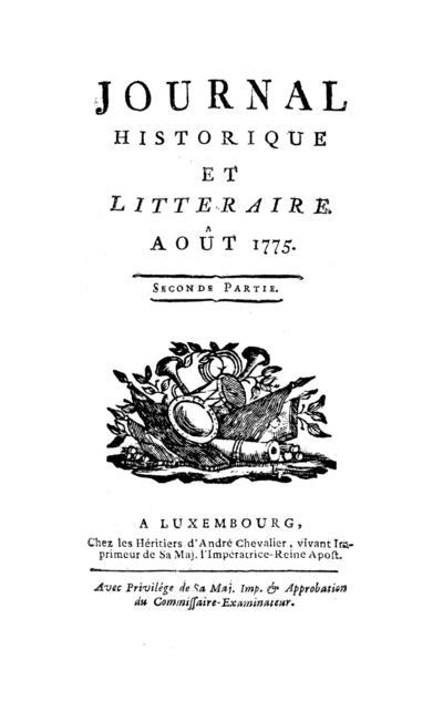 Journal historique et littéraire - 1775-08-15