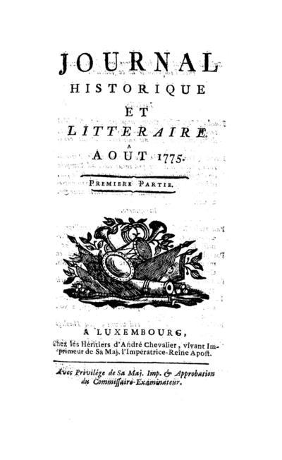 Journal historique et littéraire - 1775-08-01