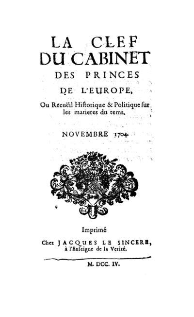 La clef du cabinet des princes de l'Europe - 1704-11-01
