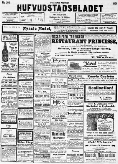 Hufvudstadsbladet, nr: 294 - 1904-10-29