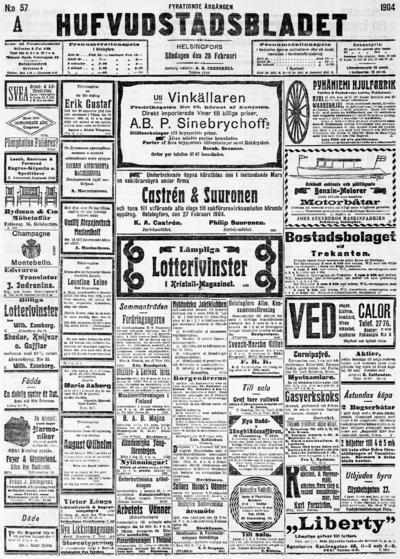 Hufvudstadsbladet, nr: 57A - 1904-02-28