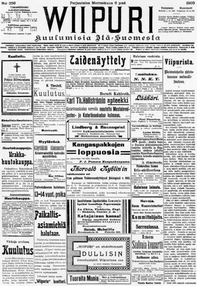 Wiipuri, nr: 258 Kuulumisia Itä-Suomesta - 1903-11-06
