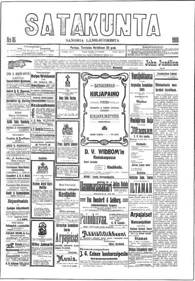 Satakunta, nr: 83 Sanomia Länsi-Suomesta - 1908-07-30