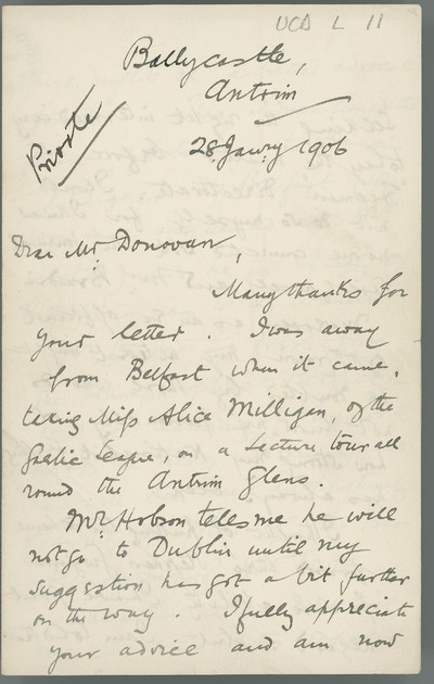 [Letter from Roger Casement (Ballycastle, Antrim) to [Robert] Donovan, discussing plans for a Press Agency; Irish MPs and Home Rule; an article in the 'Freeman's Journal' on King Leopold's policy in Congo; anti-enlisting; anti-jurying; Irish trade and customs.]