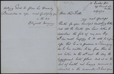 Elizabeth Meaney writing to Fr. Gleeson about her son Martin Meaney