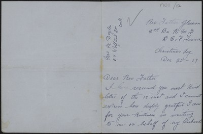 Mrs. M. Doyle writing to Fr. Gleeson about her husband Sergeant J. Doyle