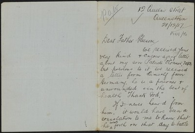 Patrick O'Connor writing to Fr. Gleeson about his son Private Patrick O'Connor, 7093