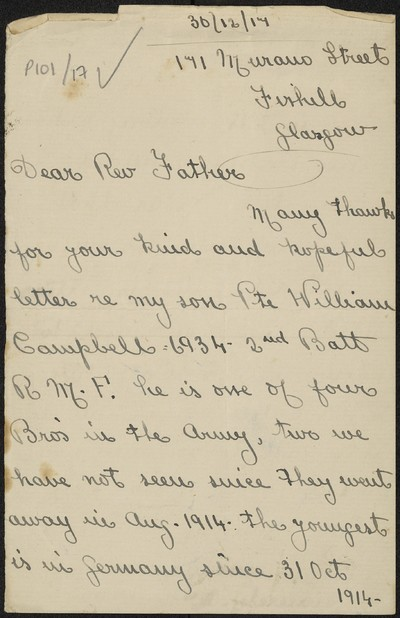 Mrs. Roger Campbell writing to Fr. Gleeson about her son Private William Campbell, 6934