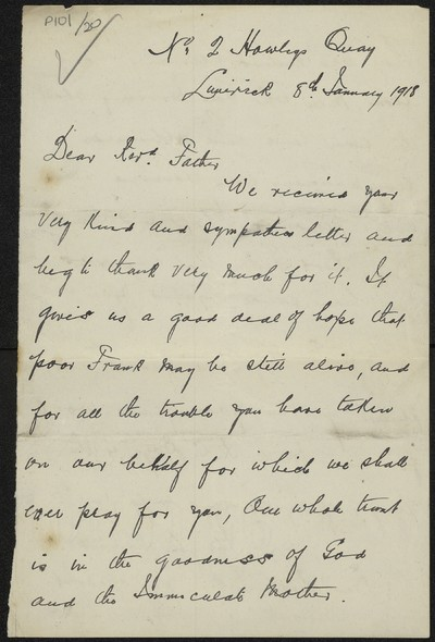 H. Dawes writing to Fr. Gleeson about his son Frank Dawes