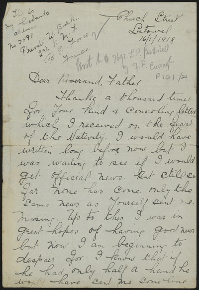 Margaret Burke writing to Fr. Gleeson about her husband Private W. Burke, 3591