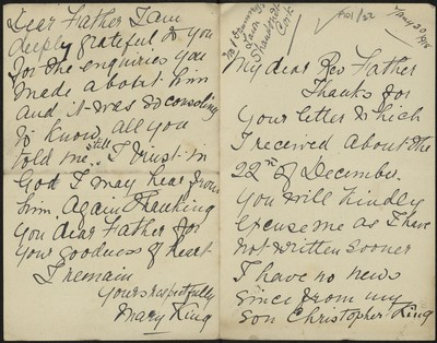 Mary King writing to Fr. Gleeson about her son Christopher King
