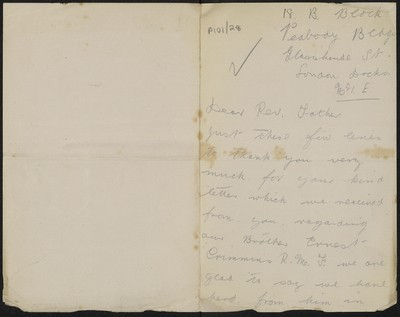 Mr. & Mrs. Crimmins writing to Fr. Gleeson about their brother Ernest Crimmins
