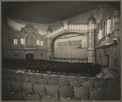 Savoy Cinema post completion : view of the auditorium from ground floor towards screen
