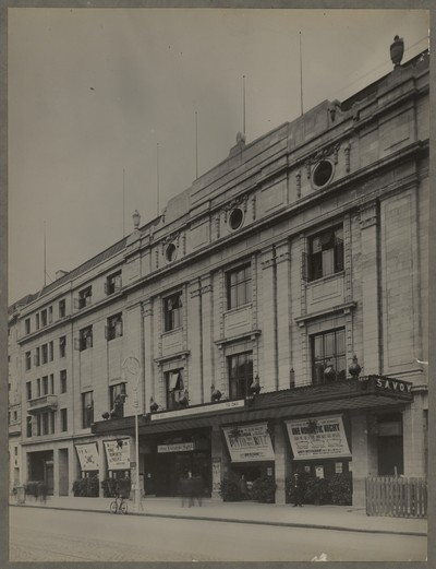 Savoy Cinema post completion : external view of front façade with advertisements