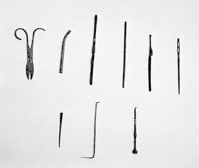 Ancient Roman and Greek surgical instruments (1-9)