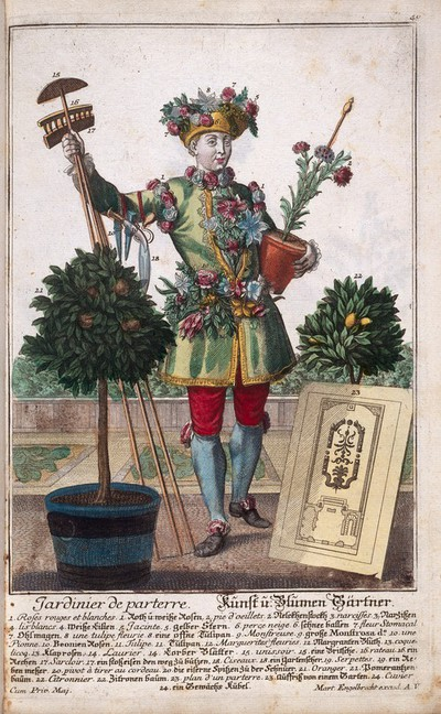 A landscape gardener with instruments of his trade