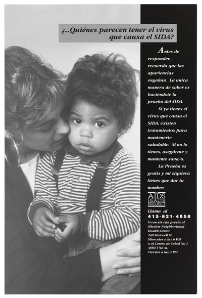 A woman holds a black child in a stripy top and braces who has AIDS; an advertisement in spanish for The Aids Health Project. Black and white lithograph.