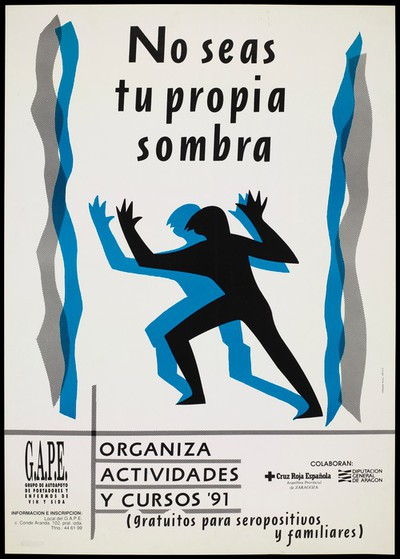 A black and blue figure appear to dance with arms raised between parallel black and blue lines either side of them representing an advertisement for G.A.P.E., a group for those with HIV and AIDS in Zaragoza [?]. Colour lithograph by Orravan Aicul Oñesid.
