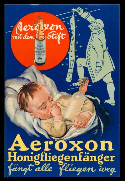 A baby sleeping with a fly on the teat of its milk bottle; a man setting up an Aeroxon trap to catch flies. Colour lithograph, 19--.